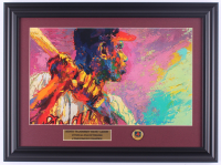 "LeRoy Neiman ""Hank Aaron"" 14.5x19.5 Custom Framed Print Display with Vintage Braves Pin at PristineAuction.com"