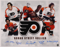 Philadelphia Flyers 16x20 Photo Signed by Reggie Leach, Bill Barber, Bernie Parent, Bobby Clarke, and Dave 'The Hammer' Schultz (COJO COA) at PristineAuction.com