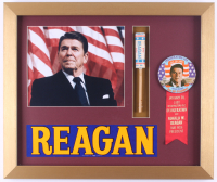 Ronald Reagan 16x19 Custom Framed Photo Display with Inauguration Pin & Streamer at PristineAuction.com