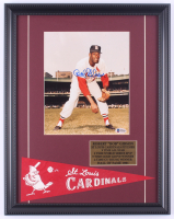 Bob Gibson Signed Cardinals 15x19 Custom Framed Photo Display with 1960's Cardinals Mini-Pennant (Beckett COA) at PristineAuction.com