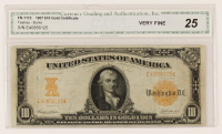 1907 $10 Ten-Dollar U.S. Gold Certificate Large-Size Bank Note (CGA 25) at PristineAuction.com