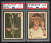 Lot of (2) PSA Graded 8 1959 Fleer Ted Williams Baseball Cards with #24 Sharpshooter & #51 Ted Is Patched Up at PristineAuction.com