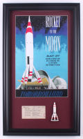 Disneyland 15.5x26.5 Custom Framed Print with Vintage Ticket & 1960's Resin Rocket Magnet at PristineAuction.com