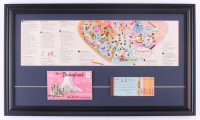 Disneyland 15.5x26.5 Custom Framed Vintage 1962 Map Display with Photo Packet & Ticket Book at PristineAuction.com