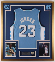 Michael Jordan 32x36 Custom Framed Jersey Display with North Carolina Tar Heels Pin at PristineAuction.com