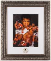 Muhammad Ali 20.5x24.5 Custom Framed Photo Display with Vintage 60s Muhammad Ali Foundation Pin at PristineAuction.com