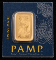 Certified PAMP 999.9 Solid Fine Gold 1 Gram Bar at PristineAuction.com
