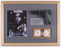 """Henry Hill Signed """"Goodfellas"""" 17x22 Custom Framed Print Display with Prop Replica Gun & Money Inscribed """"Goodfella"""" (PSA COA) at PristineAuction.com"""