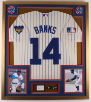 Ernie Banks Signed Cubs 32.5x36.5 Custom Framed Cut Display with Jersey, (2) Cubs Patches & Ernie Banks Hall of Fame Plaque Pin (PSA COA) at PristineAuction.com