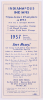 1957 Indianapolis Indians Spring Roster Schedule Information Pamphlet at PristineAuction.com