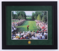 Tiger Woods 13x15 Custom Framed Print Display with Official Masters Tournament Pin at PristineAuction.com