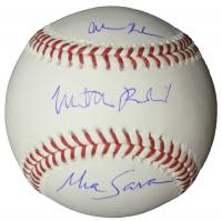 "Matthew Broderick, Alan Ruck, & Mia Sara Signed ""Ferris Bueller's Day Off"" OML Baseball (Schwartz COA) at PristineAuction.com"