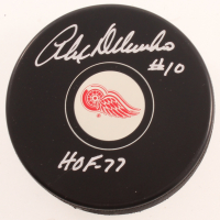 "Alex Delvecchio Signed Red Wings Logo Hockey Puck Inscribed ""HOF - 77"" (Beckett COA) at PristineAuction.com"