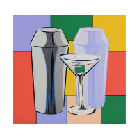 "Steve Kaufman Signed ""My Martini"" 20x20 Hand Embellished Limited Edition Silkscreen on Canvas #6/50 at PristineAuction.com"