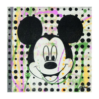 "Gail Rodgers Signed ""Mickey Mouse"" 23x23 One-of-a-Kind Hand-Pulled Silkscreen Mixed Media on Canvas at PristineAuction.com"