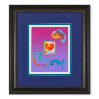 "Peter Max Signed ""Heart Series"" 20x22 Custom Framed One-Of-A-Kind Acrylic Mixed Media at PristineAuction.com"
