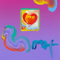 """Peter Max Signed """"Heart Series"""" 20x22 Custom Framed One-Of-A-Kind Acrylic Mixed Media at PristineAuction.com"""