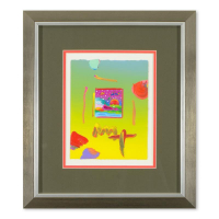 "Peter Max Signed ""Woodstock Series: Cosmic Sunrise""19x21 Custom Framed One-Of-A-Kind Acrylic Mixed Media at PristineAuction.com"