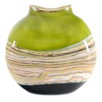 "GartnerBlade Glass Signed ""Lime Flat Vessel"" Hand Blown Glass Vase Sculpture at PristineAuction.com"
