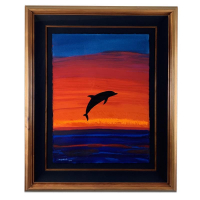 "Wyland Signed ""Fire Sky"" 35x43 Custom Framed Original Painting at PristineAuction.com"