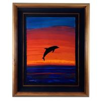 "Wyland Signed ""Fire Sky"" 35x43 Custom Framed Original Painting at PristineAuction.com"