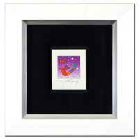 "Peter Max Signed ""Cosmic Flyer in Space"" Limited Edition 11x12 Custom Framed Lithograph #453/500 at PristineAuction.com"