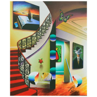 "Ferjo Signed ""Red Stairs to Dali"" 30x24 Original Painting on Canvas at PristineAuction.com"