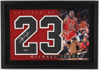 Michael Jordan Signed Bulls 14.5x20.5 Custom Framed Jersey Number Display (UDA COA) at PristineAuction.com