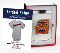 SATCHEL PAIGE 1969 ATLANTA BRAVES GAME WORN JERSEY MYSTERY SWATCH BOX! at PristineAuction.com