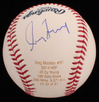 Greg Maddux Signed LE OML Career Stat Engraved Baseball (JSA COA) at PristineAuction.com