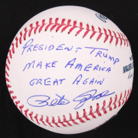 "Pete Rose Signed OML Baseball Inscribed ""President Trump Make America Great Again"" (Fiterman Hologram) at PristineAuction.com"