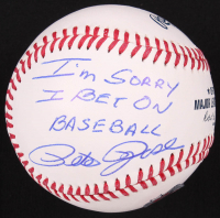 "Pete Rose Signed OML Baseball Inscribed ""I'm Sorry I Bet On Baseball"" (Fiterman Hologram) at PristineAuction.com"
