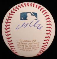 DJ LeMahieu Signed LE OML Career Stat Engraved Baseball (JSA COA) at PristineAuction.com