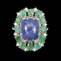 10.00ct Tanzanite & Emerald Halo Ring (GIA Cert) at PristineAuction.com