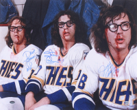 "Jeff Carlson, Steve Carlson & David Hanson Signed ""Slap Shot"" 16x20 Photo (Schwartz Sports COA) at PristineAuction.com"