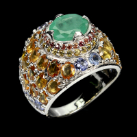 5.50ct Emerald & Yellow Sapphire Ring (GIA Cert) at PristineAuction.com