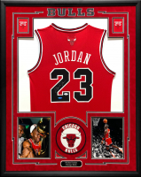 Michael Jordan Signed 34.5x42.5 Custom Framed Bulls Jersey (UDA Hologram & JSA LOA) at PristineAuction.com