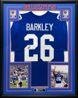 Saquon Barkley Signed 34.5x42.5 Custom Framed Jersey (JSA COA) at PristineAuction.com