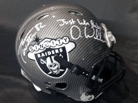 """Jason Witten & Darren Waller Signed Raiders Full-Size Authentic On-Field Hydro-Dipped Helmet inscribed """"Just Win Baby!"""" (Witten Hologram & Beckett COA) at PristineAuction.com"""