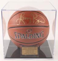 Larry Bird Signed NBA Basketball with Display Case (Bird Hologram & PSA COA) at PristineAuction.com