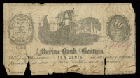 1862 10¢ Ten Cent - The Marine Bank of Georgia Note at PristineAuction.com