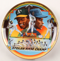"""Rickey Henderson Signed LE Atheltics """"Born To Steal"""" Plate (PSA COA) at PristineAuction.com"""