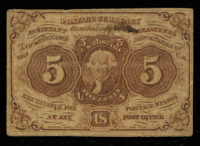 1862 United States 5¢ Five Cents Fractional Postage Currency Bank Note at PristineAuction.com
