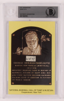 Babe Ruth Hall of Fame Plaque Postcard with (1) Hand-Written Word (BGS Encapsulated) at PristineAuction.com