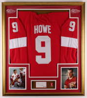 "Gordie Howe Signed 32.5x36.5 Custom Framed Cut Display with Vintage Red Wings Howe Jersey Number Retirement Pin Inscribed ""Best Wishes"" (PSA COA) at PristineAuction.com"