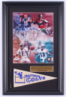 Johnny Unitas Signed Colts 12x18 Custom Framed Photo Display with Vintage Pennant (PSA LOA) at PristineAuction.com