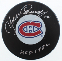 """Yvan Cournoyer Signed Canadiens Logo Hockey Puck Inscribed """"HOF 1982"""" (COJO COA) at PristineAuction.com"""
