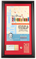 Disneyland 15.5x26.5 Custom Framed Print Display with1960's Ticket Book, Vintage Disney Pin & .25 Parking Pass at PristineAuction.com