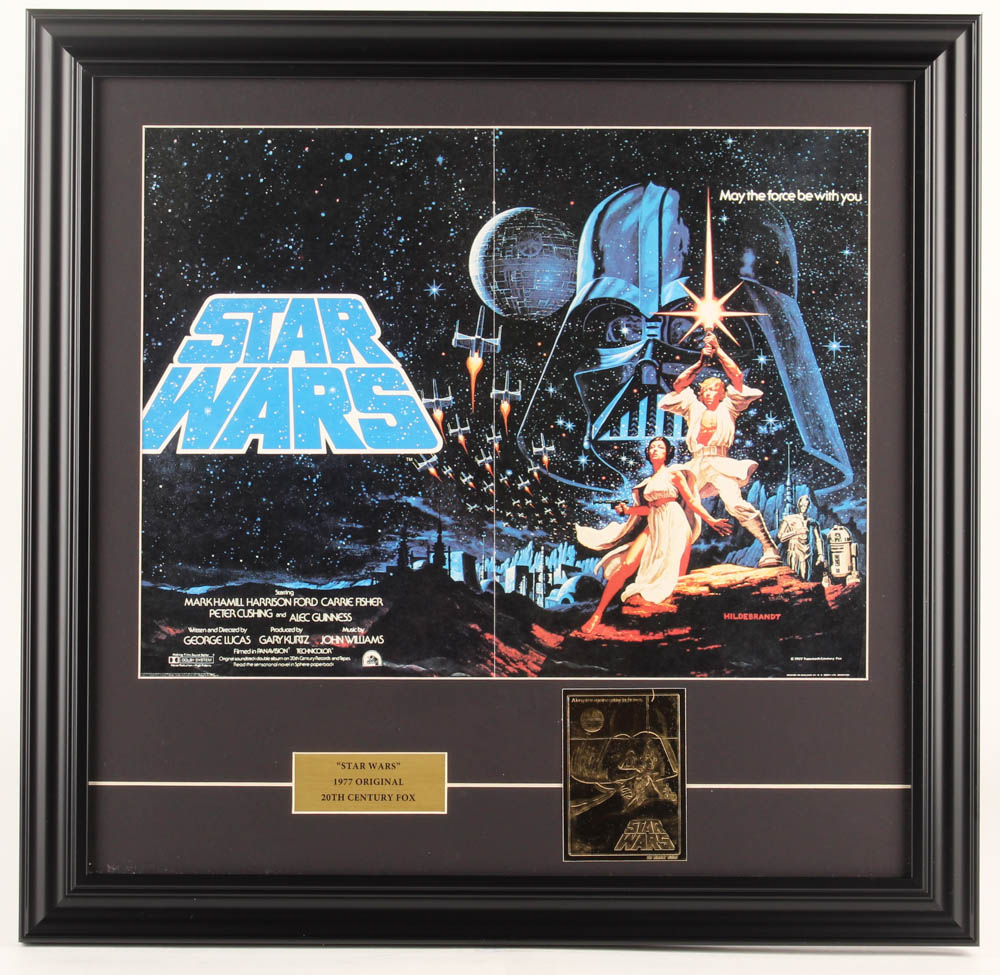 """""""Star Wars: A New Hope"""" 19x19.5 Custom Framed Foreign Print Display with 23 KT Gold Card at PristineAuction.com"""