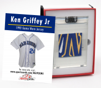 KEN GRIFFEY JR 1992 SEATTLE MARINERS GAME WORN JERSEY MYSTERY SWATCH BOX! at PristineAuction.com